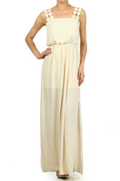 Solid, full length maxi dress with diamond cut out lace straps, gathered waist and short inner lining.