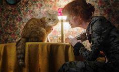 The writer and her cat. Zyranna Zateli, Greek writer. Photographer Tasos Vrettos.