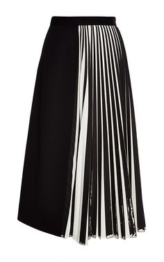Off White And Black Wool Suiting Pleated Skirt by PROENZA SCHOULER