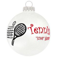 """Tennis Is a """"Love"""" Game glass ornament #tennis #ornament #Christmas $8.99"""