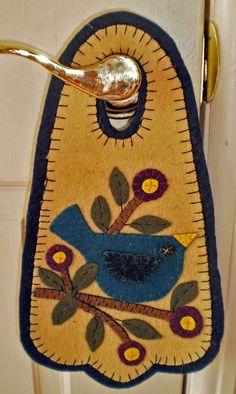 Oley Valley Primitives BLUEBIRD on BRANCH Penny Rug Door Knob Hanger Digital Download