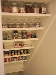 New kitchen pantry cupboard under stairs 64 ideas . New kitchen pant Basement Storage, Basement Stairs, Pantry Storage, Pantry Organization, Basement Remodeling, Kitchen Storage, Pantry Shelving, Staircase Storage, Pantry Closet