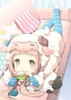 ✮ ANIME ART ✮ anime. . .lamb girl. . .sheep ears. . .horns. . .colorful. . .pastel. . .chibi. . .striped socks. . .plush toys. . .moe. . .cute. . .kawaii