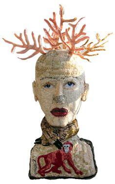 """Monica Bohlmann; Textile Sculpture """"Hirschfrau"""""""