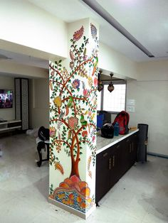 Diy Wall Painting, Diy Wall Art, Room Interior Design, Interior Walls, Room Decor, Wall Decor, Wall Mural, Pillar Design, Buddha Wall Art