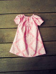 Pink damask Hand Smocked peasant dress