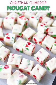 Easy Christmas Gumdrop Nougat Candy - A Pretty Life In The Suburbs This Christmas Gumdrop Nougat Candy is an easy no-bake treat that's perfect for the holiday season. Great as a homemade gift! Christmas Snacks, Christmas Cooking, Holiday Treats, Christmas Recipes, Homemade Christmas Candy, Diy Christmas, Christmas No Bake Treats, Christmas Candy Gifts, Easy Holiday Recipes