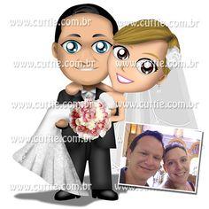 Caricatura para casamento - Noivos Rubia e João Paulo - noivinhos cuttie
