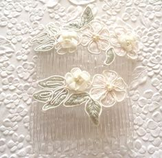 2 sage green/ivory hair combs   beaded floral by EmbellishedLife, $12.00