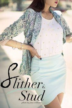 {slither & Stud} Python Print Blazer + Studded T by The Christelle Factor