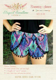 PAPER Pattern - Coachella Shorts Women (XS-XXL) from Striped Swallow Designs