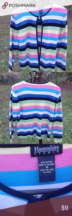 Hampshire Studio Strip Knit Sweater Size Medium * Top Hook Closure * Long Sleeves * 100% Cotton * Pink, Aqua, White, Blue, Black, Green, Yellow Stripes * Hampshire Studio Sweaters Crew & Scoop Necks