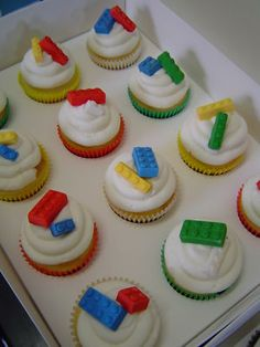 LEGO CAKE CUPCAKE PARTY TOPPERS, Edible, SET of 24.  I made some like this for my sons 8th birthday.