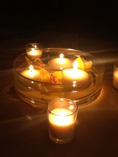 Floating candle centerpiece with yellow flowers