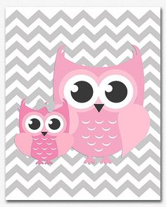 Pink and grey owl chevron wall art, nursery Art Print - 8x10 ...