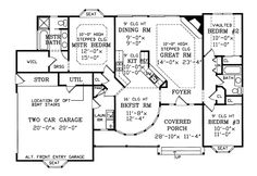 """Heatherstone Victorian Home First Floor from houseplansandmore.com      ~1466 Total Heated Square Feet 1st Floor 1466 Width: 60'-0"""" Depth: 39'-0"""" 3 Bedrooms 2 Full Baths 2-Car Garage 2-Car Attached, Side Entry Size: 19'-10"""" x 23'-6"""" Standard Foundation - Slab Optional Foundation - Crawl Space Additional Foundation - Basement"""