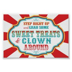 Shop Carnival Sign Clown and Treats created by NouDesigns. Carnival Party Foods, Carnival Signs, Carnival Cakes, Homemade Carnival Games, Circus Carnival Party, Diy Carnival, Carnival Themes, Theme Parties, Party Themes