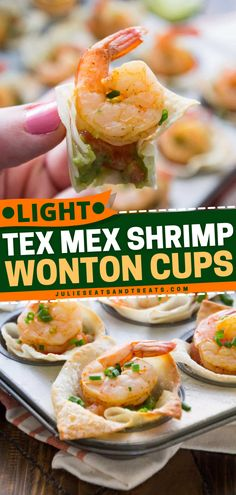 Crunchy Wonton Shells Stuffed with Pico de Gallo, Guacamole, and Seasoned Shrimp are perfectly baked to make these bite-sized party food - Shrimp Wonton Cups! Try this out for a delicious 4th of July appetizer! Easy Appetizer Recipes, Yummy Appetizers, Appetizers For Party, Healthy Recipes, Healthy Meals, Yummy Recipes, Shrimp Wonton, Food Shrimp, Seafood Dishes
