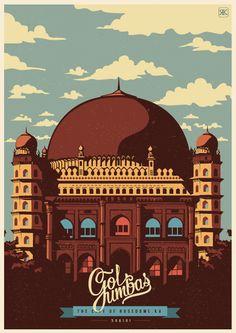 Postales del diseñador gráfico e ilustrador indio Ranganath Krishnamani Lo que vamos a mostrar son distintas postales de ciudades de la India. Los lugares son: Mysore, Hampi, Gol Gumbaz, Belur y Bangalore.