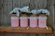 Mason Jars Shabby Chic Burlap Lace Pink by TheVintageArtistry, $30.00