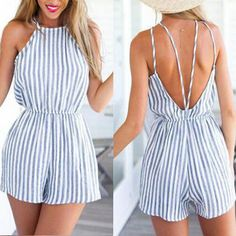 Fashion Sexy Backless Stripe Jumpsuit Rompers
