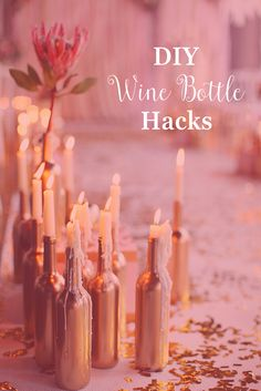 Do we have some empty wine bottles laying around? Um, yes. We definitely do. Check out an awesome hack for turning your trash into crafty DIY decor - candle holders, vases, lamps, and more.