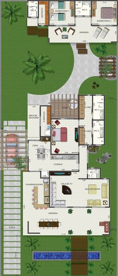 Projeto de casa térrea de 1 quarto com Dream House Plans, House Floor Plans, My Dream Home, Small Space Interior Design, Architecture Plan, House Layouts, Plan Design, Home Projects, Future House