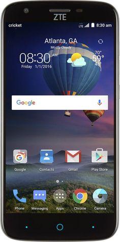 Cricket Wireless - ZTE Grand X3 4G LTE with 16GB Memory Prepaid Cell Phone - Ebony Tweed