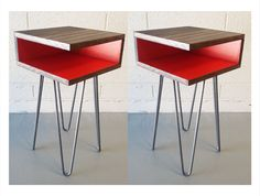 Pair of Mid-Century Modern Side Tables, Hairpin Legs, Wood, Nightstand, End Table, Sofa Table, Corner Table, Square, Small