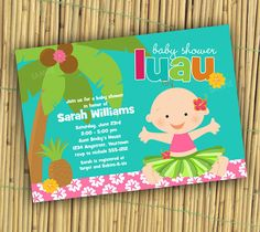 luau baby shower invitation or first birthday by 999