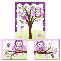 Set of 1 11x14 and 2 8x10 Pretty Purple Owl Girls por ToadAndLily