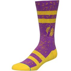 1f40b28ec527ab Los Angeles Lakers Stance Overspray Crew Socks - Purple