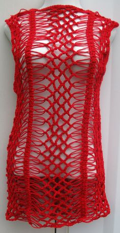 Red crochet dress Tunic top by Elegantcrochets on Etsy, Red Crochet Dress, Knit Crochet, Crochet Stitches Patterns, Crochet Designs, Hairpin Lace Crochet, Yarn Sizes, Gypsy Dresses, Crochet Slippers, Crochet Gifts