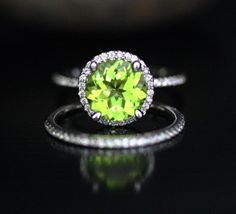 14k White Gold 9mm Peridot Round Engagement Ring and Diamond Wedding Band Set (Choose color and size options at checkout)