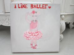Mouse ballerina oil painting original painting nursery