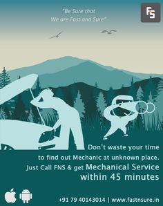"""Don't waste your time to find out Mechanic at unknown place. Just call """"FNS"""" & get within 45 minutes. Visit: www. Car Repair Service, How To Find Out, Automobile Repair Shop"""