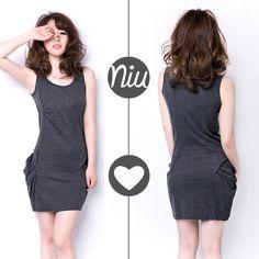 Vestido en algodón color gris jaspe, encuentra esto y mucho más en: www.niuenlinea.co