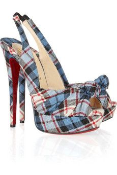 Celebrities who wear, use, or own Christian Louboutin Jenny 150 Tartan Slingbacks. Also discover the movies, TV shows, and events associated with Christian Louboutin Jenny 150 Tartan Slingbacks. Dream Shoes, Crazy Shoes, Cute Shoes, Me Too Shoes, Look Fashion, Fashion Shoes, Tartan Fashion, Fashion Check, Spring Fashion