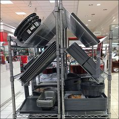 Calphalon Bakeware Declined Wire Shelf Display – Fixtures Close Up Wire Shelving, Display Shelves, Bakeware, Retail Design, Visual Merchandising, Cookware, Retail Displays, Stove, Living Rooms