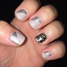 """""""What a night!!! But I did my nails BEFORE the ER trip. I'm kinda digging my neutral look for Fall. #champagnetoastjn #gildedleopardjn #jamberry #jamicure…"""""""