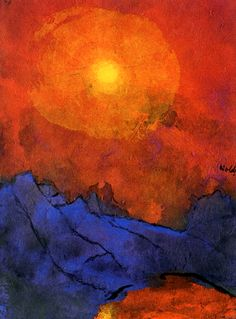 Emile Nolde-1938-1945, Sunset over blue mountains