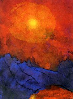 Emile Nolde-1938-1945, Sunset over blue mountains