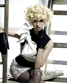 Classic Short Curly Blonde Remy Hair Wigs 8 Inch