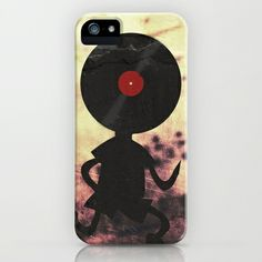 Vinyl Record Man - Vinylized! Vinyl Records Retro Grunge Music Vintage DJ Art iPhone & iPod Case by Denis Marsili - $35.00
