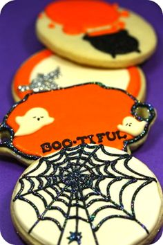 Sparkle spiderweb Halloween cookies, add spider ring for kids on top