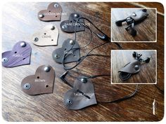 Leather Cable holder, Ear phone cable organizer  All handmade If you are always getting your ear phone and other cables in a tangle, these