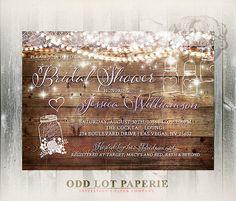 Mason Jar Bridal Shower Invitation Rustic Bridal by OddLotPaperie