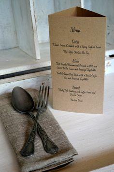 Kraft Wedding TriFold Menus by LaPommeEtLaPipe on Etsy, $2.00