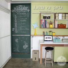 Como fazer lousa na porta - Dicas e passo a passo com fotos - DIY - Tutorial - How to make chalkboard door - Madame Criativa - www.madamecriativa.com.br