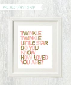 Printable wall art - Twinkle Twinkle Little Star Do You Know How Loved You Are - Pink and gold - Birthday party - Nursery decor - Shower on Etsy, $12.00